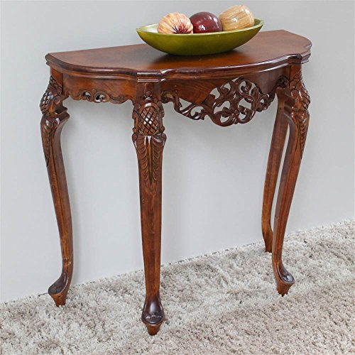 International Caravan 3841-IC Furniture Piece Half Moon Wood Console Table, (Half Moon Wood Table)