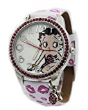 Betty Boop Women's Printed Band Watch Shimmering with Pink Crystals