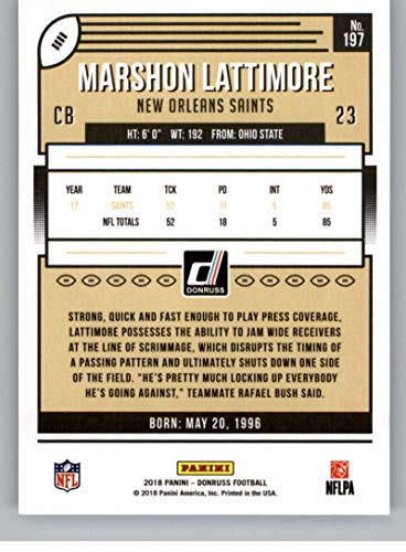 Amazon.com  2018 Donruss Football  197 Marshon Lattimore New Orleans Saints  Official NFL Trading Card  Collectibles   Fine Art ebb25f9b5