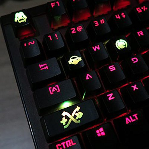 All Decor Overwatch Theme Keycaps Hand-Engraved Resin Translucidus Backlit Key caps for Mechanical Keyboards (Cherry switches) with Gift Case - Lúcio
