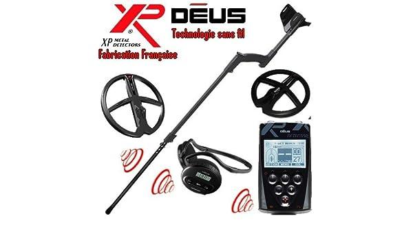 XP Metal Detectors - Detector de metales Deus Full 2 discos - tecnología inalámbrica - Mando a distancia - Casco WS4 - Discos DD de 22 y 28 cm con protector ...