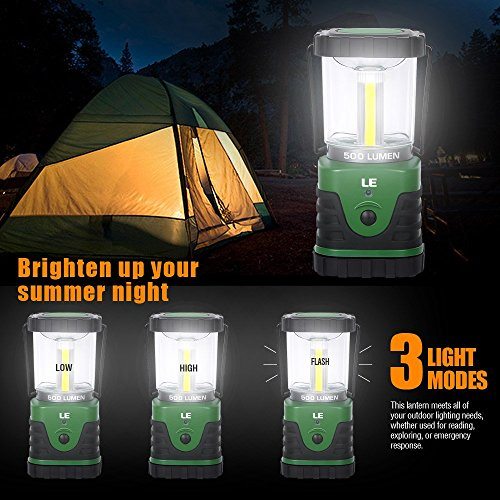LE Portable LED Camping Lantern 500lm Light 3 Modes Battery Powered IPX4 Waterproof Lamp for Camping Hiking Fishing Indoor Outdoor Emergency