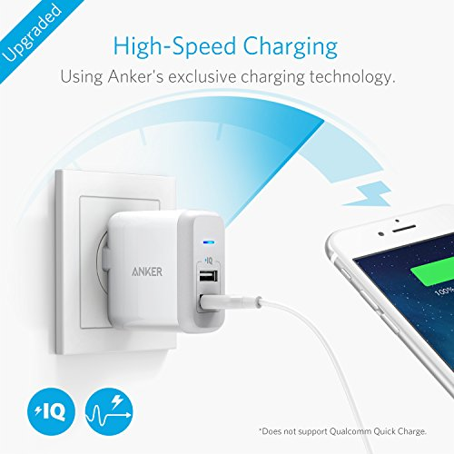 [Upgraded] Anker 2-Port 24W USB Wall Charger PowerPort 2 with PowerIQ for iPhone 7 / 6s / Plus, iPad Air 2 / mini 3, Galaxy S Series, Note Series, LG, Nexus, HTC and More