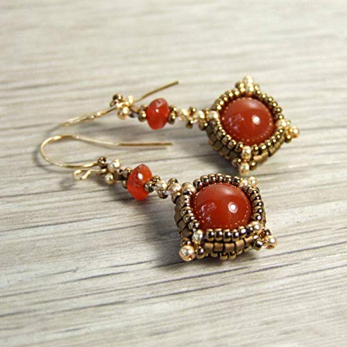 (Small Carnelian Red Orange Stone Beaded Dangle Petite Drop Earrings with Handcrafted 14k Goldfilled Earwires - Handmade Boho Vintage Style Gemstone Jewelry for Women)