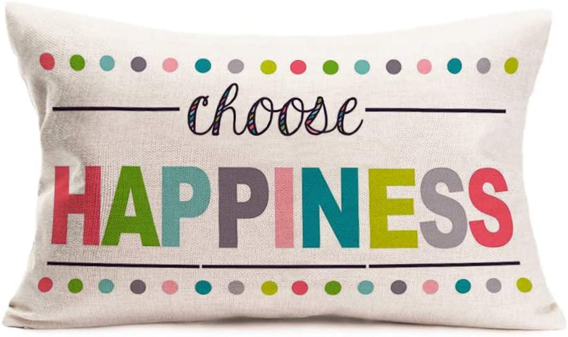 Aremetop Choose Happiness Throw Pillow Covers 12x20 Inch Home Decor Colorful Quotes with Polka Dots Cotton Linen Decorative Throw Pillows Inspirational Warm Words Cushion Cases for Sofa