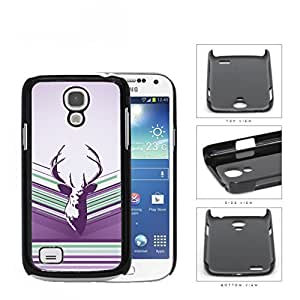 Purple Deer Buck Head Vector with Purple Lilac & Green Stripes Samsung i9190 Galaxy S4 (MINI) Hard Snap on Plastic Cell Phone Case Cover