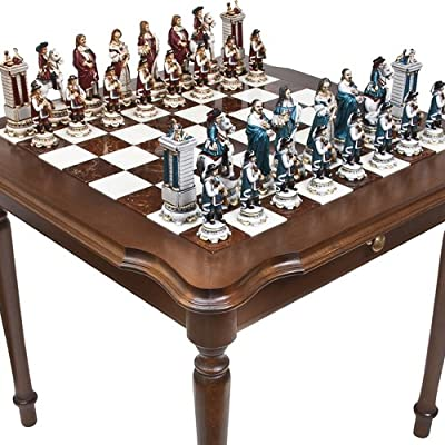 Bello Games Collezioni - King Louis The Sun King Chessmen & Luxury Palazzo Chess & Checkers Table from Italy