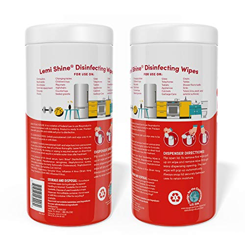 Lemi Shine Disinfecting, Multi-Surface Wipes (Bulk 6-Pack, 75 Wipes Each, 450 Wipes Total)