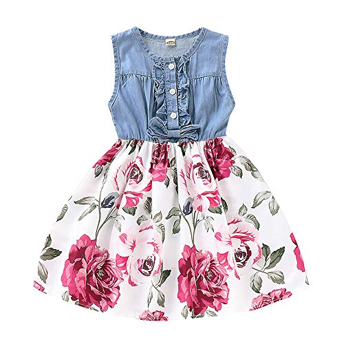 YOUNGER TREE Toddler Baby Little Girls Princess Dresses Sunnmer Sleeveless Casual Denim Dress Floral Print Tutu Skirts (#3 Floral Tutu Skirts, 18-24 Months)