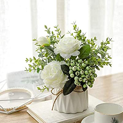 Naweida Artificial Flowers With Small Ceramic Vase Silk Roses Fake Plants Eucalyptus Leaves Berries Flower Arrangements Decorations For Home White Amazon Sg Home