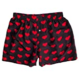 Silk Heart Boxers by ROYAL SILK - Valentine's Day - Red on Black -...