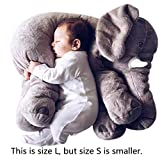 Missley Small Elephant Cushion Cute elephant pillow 100% cotton Novelty plush soft toy for decoration gifts for kids Size S (Grey)