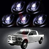 CCIYU 5 Pack Cab Roof Top White 6 LED Lights Clearance Lens Smoke Marker Running Lamps with Base Housing truck RV 4X4 For Dodge Ram
