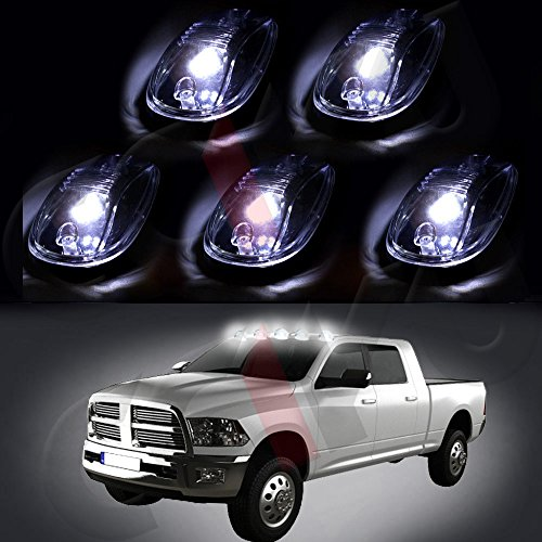cciyu 5 Pack Cab Roof Top White 6 LED Lights Clearance Lens Smoke Marker Running Lamps with Base Housing truck RV 4X4 Replacement fit for Dodge Ram