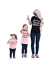 Mommy and Me Matching Letter Print T-Shirt Short Sleeve Top Family Outfits