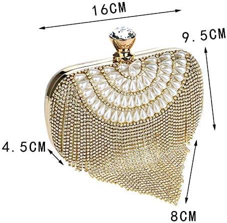 Mdsfe Borse da Sera da Donna con Nappe da Donna con Diamanti Perline Clutch Borse da Sposa Spalla Borsa da Viaggio per Laides - YM1069gold