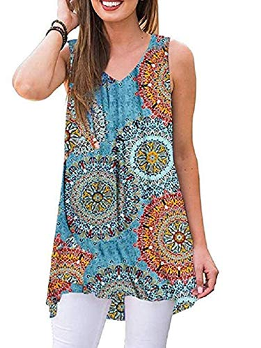 - iChunhua Womens Casual Loose Knit V-Neck Tank with Uneven Hem (2XL,Multicoloured)