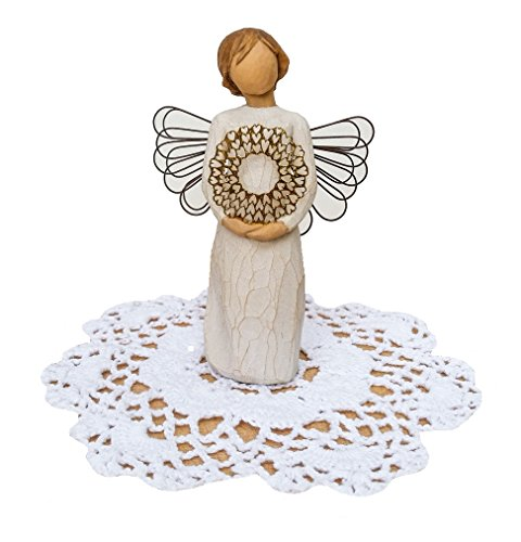 Willow Tree Angel Figurine with Westbraid Doily (Sweetheart) Willow Tree Angel Heart
