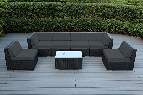 Ohana 7 Piece Outdoor Wicker Patio Furniture Sectional