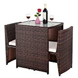 Giantex 3 PCS Cushioned Outdoor Wicker Patio Set Convention Bistro Set Garden Lawn Sofa Furniture (Light Brown)