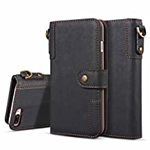 Dfly-US iPhone 7 Plus Case, Retro Genuine Leather Flip Wallet Case with [Kickstand] [Card Slots] [Magnetic Closure] [Keyring] Cover for Apple iPhone 7 Plus (2016)/iPhone 8 Plus (2017) (Black)