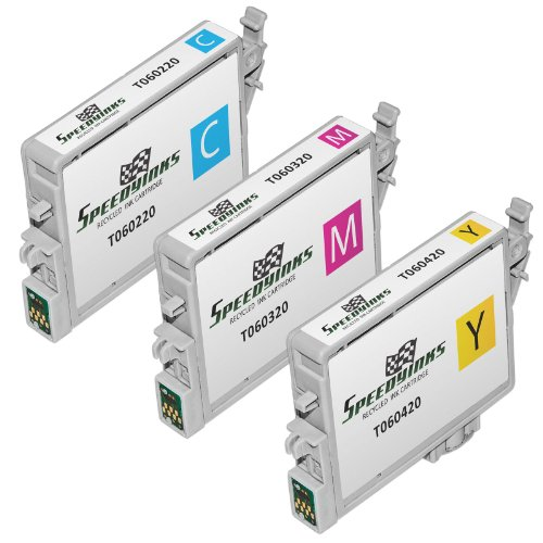 Speedy Inks Remanufactured Ink Cartridge Replacement for Epson T060220 ( Cyan,Magenta,Yellow , 3-Pack ()