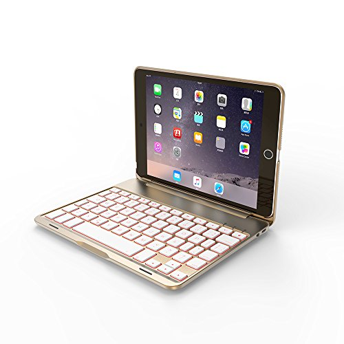 iPad Mini Keyboard Case, Bosssee F8S Mini Aluminum Alloy Clamshell Case with 7 Colors Backlit Wireless Bluetooth Keyboard Protective Cover for iPad Mini 2/3 (Gold)
