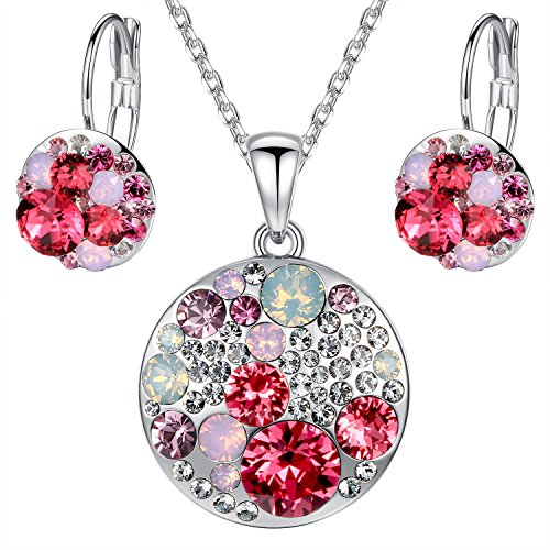 Leafael Ocean Bubble Women's Jewelry Set Made with Swarovski Crystals Opal Pink Ruby Red Costume Fashion Pendant Necklace Earring Set, Silver Tone, 18