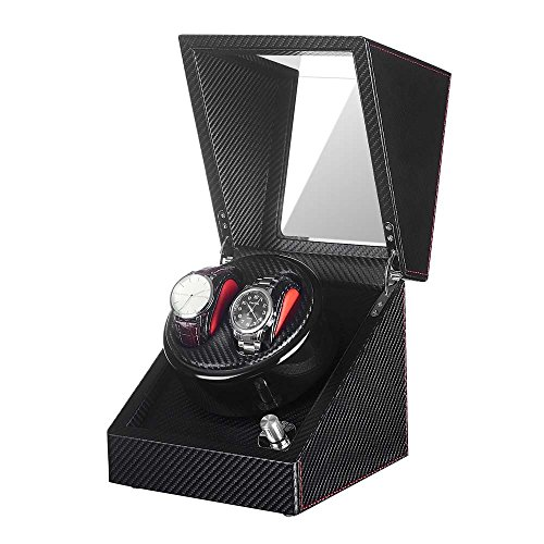 Watch Winder for Automatic Double Wach, Black Leather -