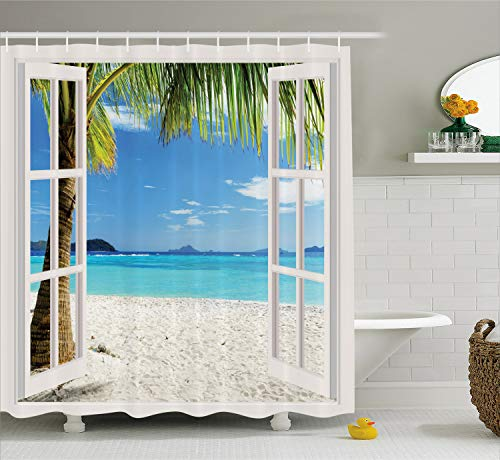 Ambesonne Ocean Shower Curtain Decor by, Tropical Palm Trees on an Island Beach Through White Wooden Windows, Polyester Fabric Bathroom Shower Curtain Set with Hooks, White Blue ()