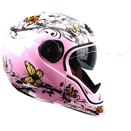 Amazon.es: Casco Stealth HD190 Transformer para moto, de color rosa y con diseño de mariposas