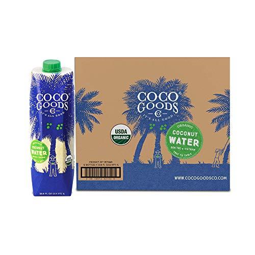 CocoGoodsCo Vietnam Single-Origin 100% Organic Coconut Water, Non-GMO, Never from Concentrate (33.8 fl. oz/1 liter, 6 pack)