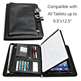 Universal Business Leather Portfolio for all tablets up to 9.5''x12.5'' iPad Pro12.9 9.7 12 3 4 Air Mini 2017, Microsoft Surface Pro 3 4, Samsung Galaxy (With Built-in Easel Stand)