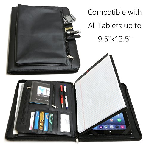 Universal Business Leather Portfolio for All Tablets up to 9.5x12.5 iPad Pro12.9 9.7 12 3 4 Air Mini 2017, Microsoft Surface Pro 3 4, Samsung Galaxy (with Built-in Easel Stand)