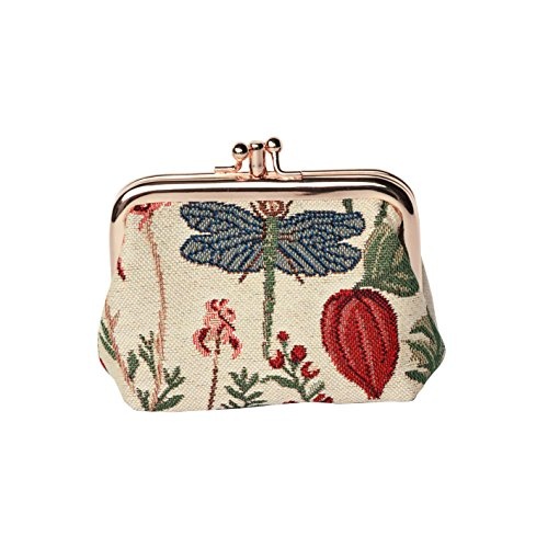 Light Floral Double Clasp Frame Coin Change Purse with Sunflower Poppy Butterfly Dragonfly by Signare (FRMP-MGD)