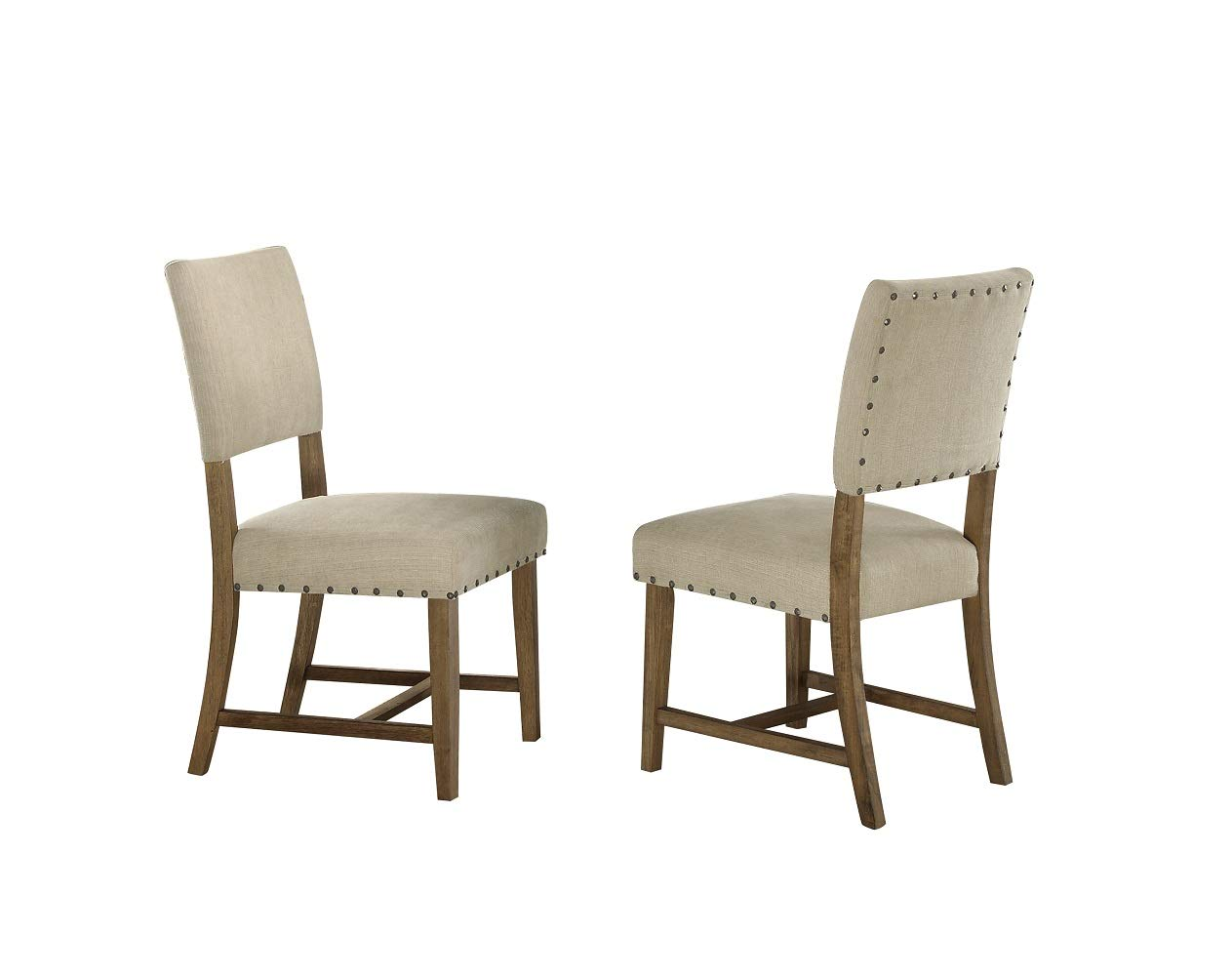 Homelegance Veltry Dining Chairs with Nail Head Accent Set of 2 , Beige
