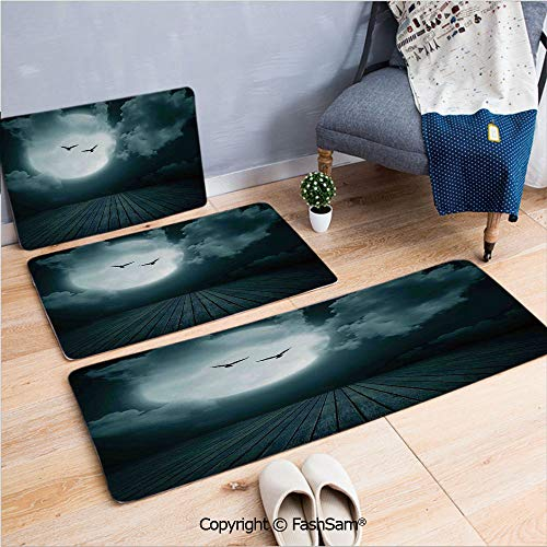 FashSam 3 Piece Flannel Doormat Danger Night with Cloudy Full Moon and Bats Birds in The Dark Haunted Lands Artful Print for Kitchen Rugs Carpet(W15.7xL23.6 by W19.6xL31.5 by W35.4xL62.9)