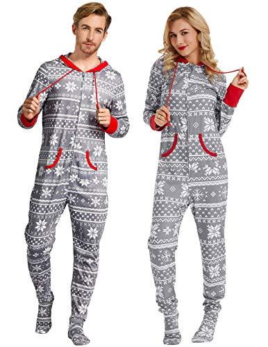 (Zexxxy Christmas Pajamas for Men Plus Size One Piece Snow Onesie Pjs Nightwear Grey)