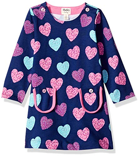 Hatley Girls' Toddler Mod Dress, Sprinkle Hearts 4 Years ()