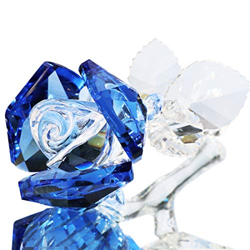 Waltz&F Crystal Rose Flower,Glass Rose Paperweight Figurine Collectible Statue Wedding Table Centerpiece Ornament,Blue Rose (Glass Blue Flower)