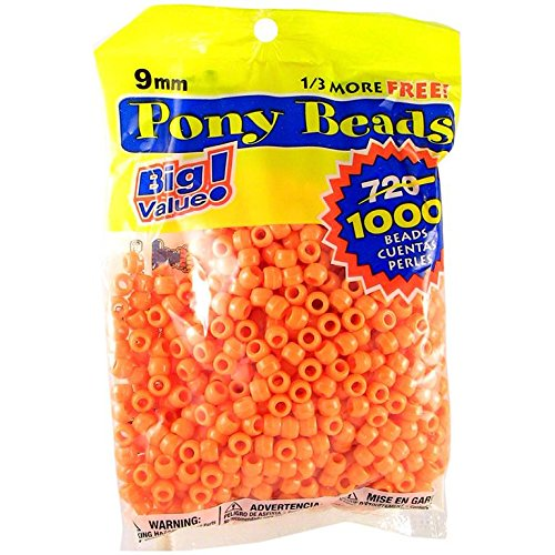 Darice Orange Opaque 9mm, 1000 Pieces Pony Beads, -
