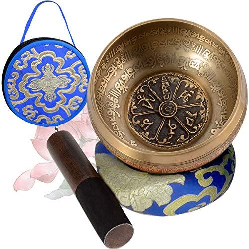 SHANSHUI 5'' Sound Bowl, Nepal Antique Mantra Carving Hand Hammered, Tibetan Singing Bowl Set Sound For Yoga Chakras Healing Meditation Zen With Leather Striker -Blue