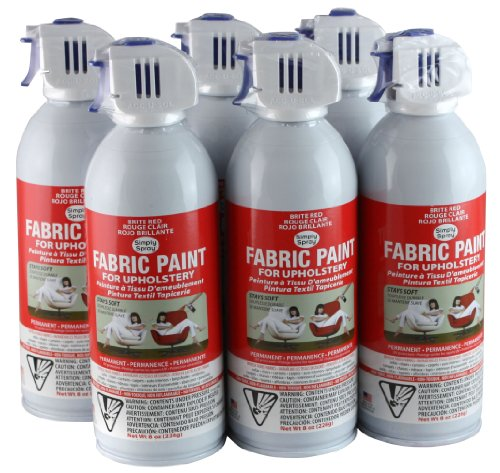 Simply Spray Upholstery Fabric Spray Paint 6 Pack Brite Red