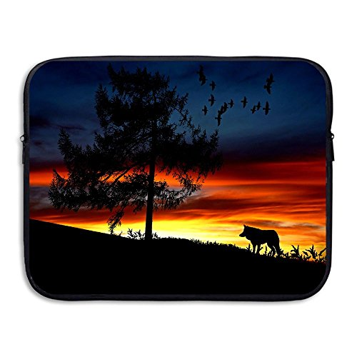 Fashion Sunset Wolf Tree Birds Printed Computer Storage Bag Portable Waterproof Neoprene Laptop Sleeve Bag Zipper Pocket Cover SizaName For MacBook Pro, MacBook Air, - Malaysia Sun Online The