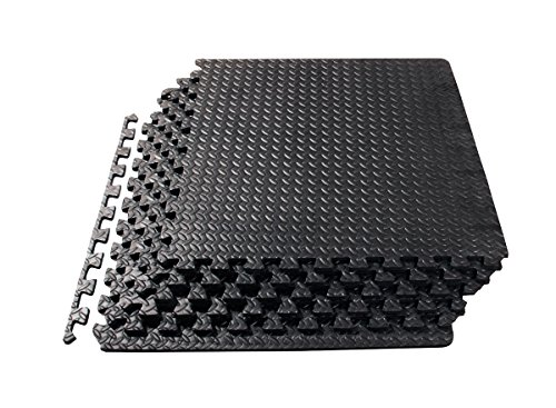 ProSource fs-1908-pzzl Puzzle Exercise Mat EVA Foam Interlocking Tiles (Black, 24 Square Feet) - Black Square Flooring