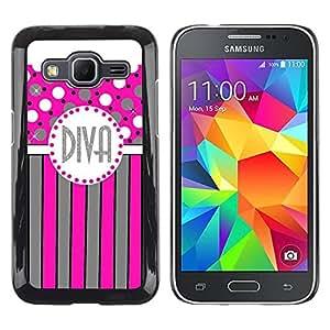 Paccase / SLIM PC / Aliminium Casa Carcasa Funda Case Cover - Polka Dot Pink Grey Stripes Lines - Samsung Galaxy Core Prime SM-G360