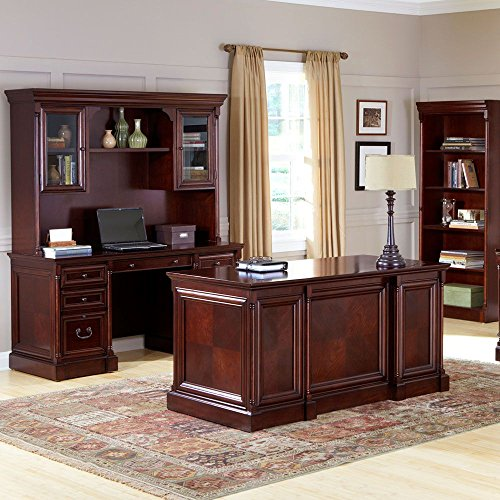 Kathy Ireland Mount View Four Piece Executive Office Set Cobblestone Cherry includes an executive desk, credenza w/hutch & bookcase