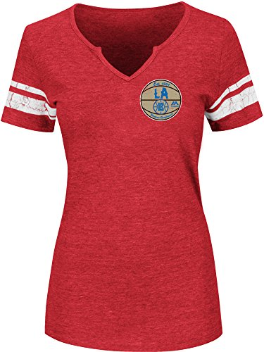 Los Angeles Clippers Merchandise (NBA Los Angeles Clippers Women's Never Defeated Short Sleeve Notch Neck Tee, Large, Athletic Red Heather/White)