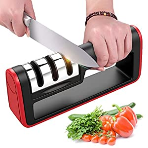 BYETOO Affilacoltelli da cucina - Coltello affilacoltelli 3 stadi Utensile per affilare coltelli diamantati per coltelli… 5