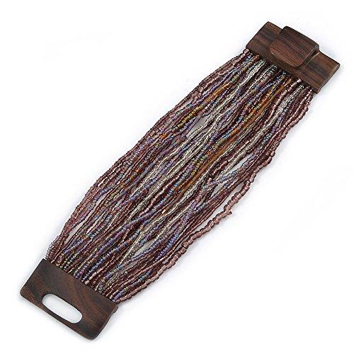 - Avalaya Plum/Transparent/Purple Glass Bead Multistrand Flex Bracelet With Wooden Closure - 19cm L